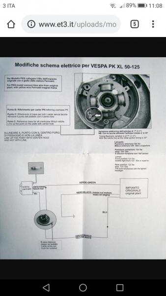 Schema Impianto Elettrico Zip 50 : Vespa pks modifica impianto 12v ac luci con accensione parmakit